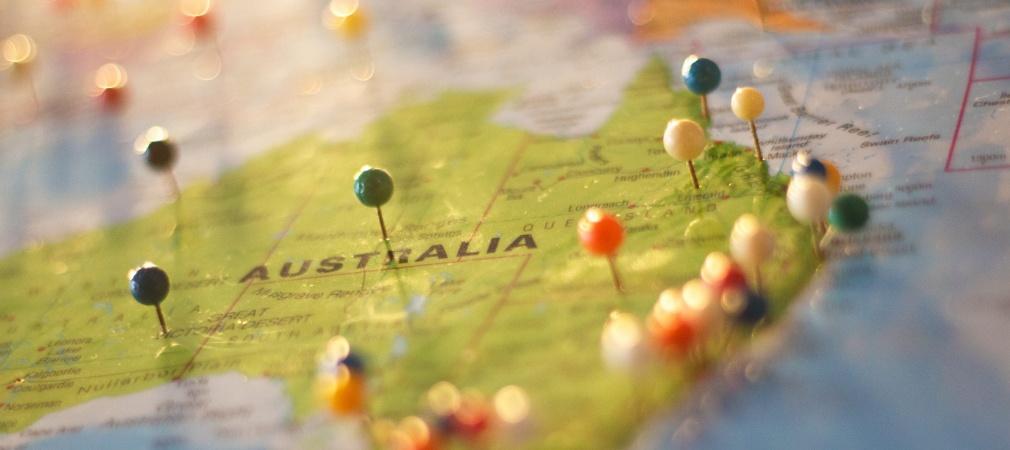 Australië op de kaart