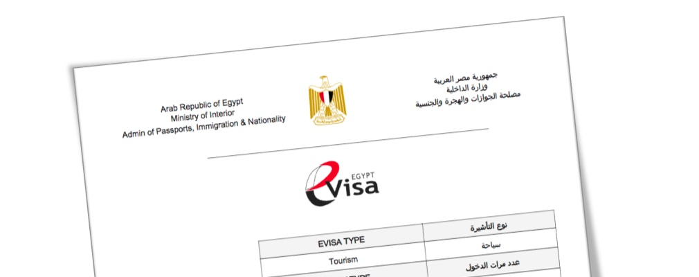 Voorbeeld van het visum Egypte