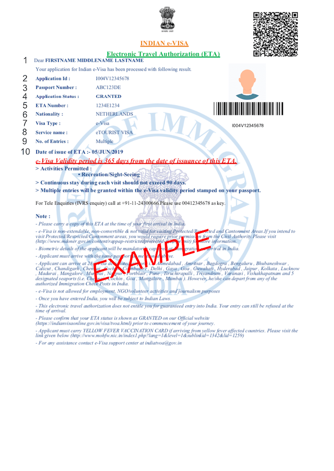 PDF voorbeeld visum india