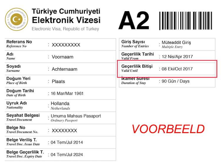 Geldigheid van het visum Turkije controleren