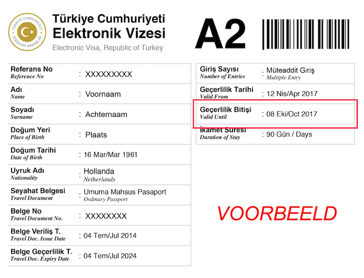 Voorbeeld Turks e-visum