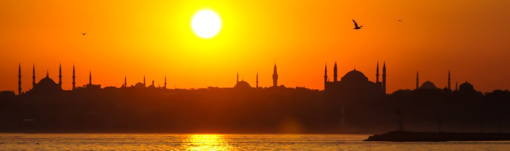 Ondergaande zon in Istanbul